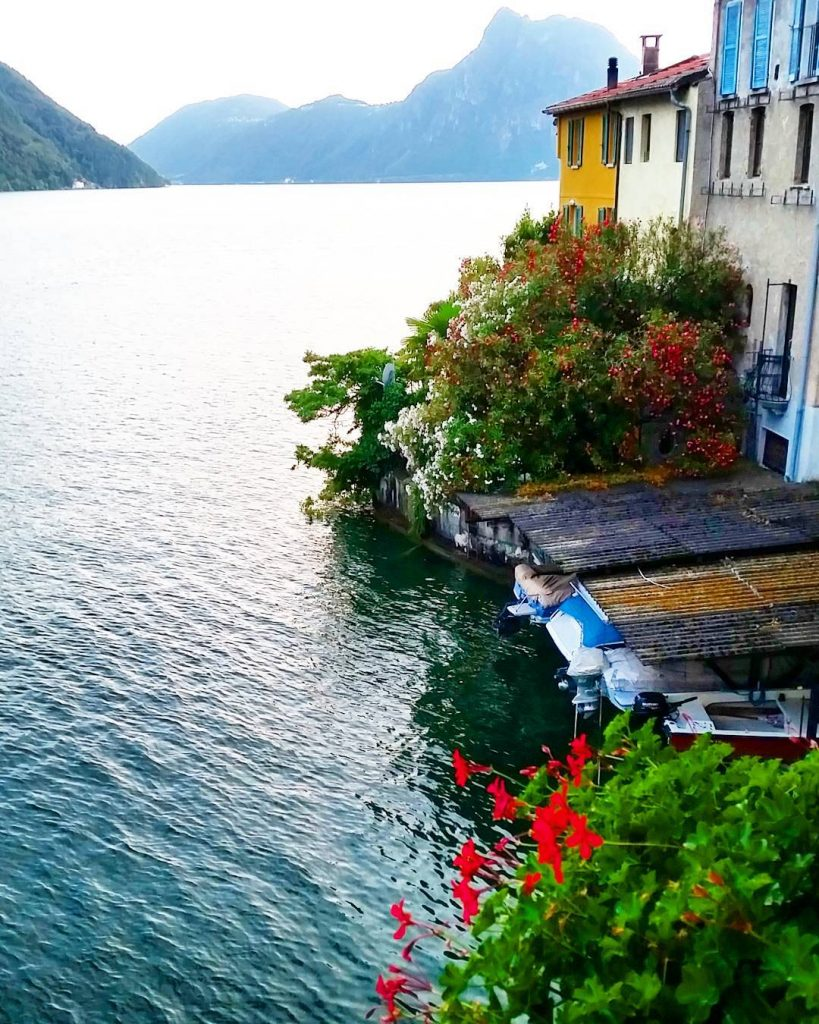 Morning mood at lake Lugano quiet and peaceful Thinking ofhellip